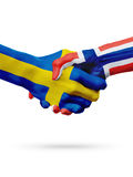 Flags Sweden, Norway countries, partnership friendship handshake concept. Stock Image
