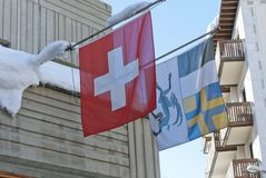 Flags of Switzerland and Canton of Graubuenden Royalty Free Stock Photos