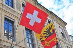 Flags of Switzerland and Geneva Royalty Free Stock Image