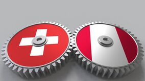 Flags of Switzerland and Peru on meshing gears. International cooperation conceptual animation