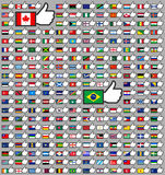 216 Flags in the Thumbs up. Vector illustration, set (march 2014 Stock Photography