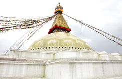 Flags tied up on the top of the Swayambhunath Stupa Royalty Free Stock Images