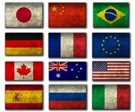 Flags of Top Nations. Flag on an old Paper Texture Stock Images