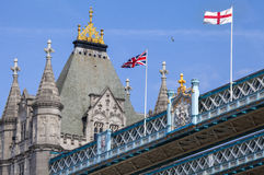 Flags on Tower Bridge in London Stock Images