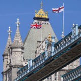 Flags on Tower Bridge in London Royalty Free Stock Image