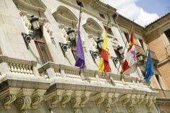 Flags in town center of Avila Spain, an old Castilian Spanish village Stock Photo