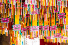 Flags or tung in chinese temple. Cultur and religion in chinese temple Royalty Free Stock Photo
