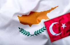 Flags of the Turkey and Cyprus. stock image