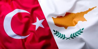 Flags of the Turkey and Cyprus. stock photography