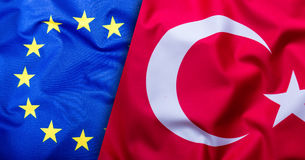 Flags of the Turkey and the European Union. Turkey Flag and EU Flag. World flag concept Stock Photography