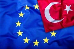 Flags of the Turkey and the European Union. Turkish Flag and EU Flag. Flag inside stars. World flag concept.  Stock Photos