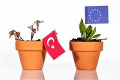 Flags of turkey iand EU or europe n a flowerpot stock photography