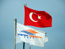 The flags of Turkey and the travel agency Stock Photos