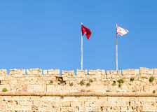 The Flags of Turkey and the Turkish Republic of Northern Cyprus Stock Photography