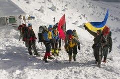 Flags of Ukraine climbers Stock Image