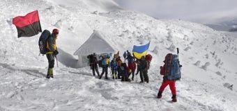 Flags of Ukraine climbers Stock Photo