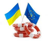 Flags of Ukraine and Europe help Royalty Free Stock Images