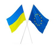 Flags of Ukraine and Europe Royalty Free Stock Images