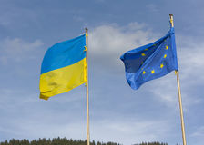 Flags of Ukraine and the European Union Stock Photography