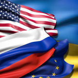 Flags of Ukraine,  European Union, Russia and Ukraine. Flags of USA, the European Union, Russia and Ukraine Stock Image