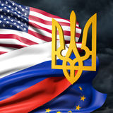 Flags of Ukraine, European Union, Russia and Ukraine. Flags of USA, the European Union, Russia and Ukraine Stock Photo