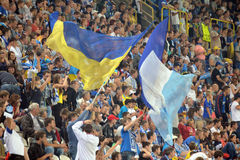Flags of Ukraine and FC Dnipro on the stands Stock Images