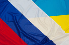 Flags of Ukraine and Russia. Close up of flags of Ukraine and Russia royalty free stock image