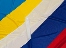 Flags of Ukraine and Russia. Close up of flags of Ukraine and Russia stock image
