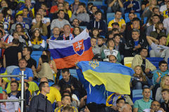 Flags of Ukraine and Slovakia during the match Royalty Free Stock Photos