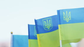 Flags of Ukraine souvenir stock video