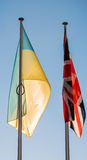 The Flags of the Ukraine and United Kingdom Stock Photos
