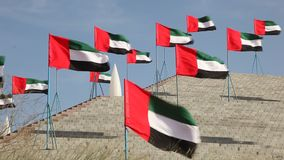Flags of the United Arab Emirates. Waving in the wind stock footage