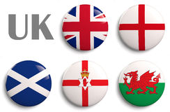 Flags of United Kingdom. British Isles flags of the United Kingdom countries Royalty Free Stock Photography