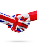 Flags United Kingdom, Canada countries, partnership friendship handshake concept. royalty free stock images