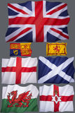 Flags of the United Kingdom - For Cutout. Flags of the United Kingdom of Great Britain - The Union Flag and flags of England, Scotland, Wales and Northern Stock Photos