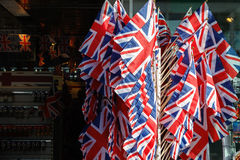Flags of The United Kingdom. Displayed outside a souvenir shop in London Royalty Free Stock Image