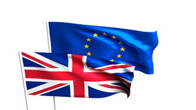 Flags of the United Kingdom and the European Union. Brexit referendum. British leaves EU. Flag isolated on the white background stock footage