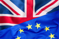Flags of the United Kingdom and the European Union. UK Flag and EU Flag. British Union Jack flag Stock Image