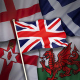 Flags of the United Kingdom of Great Britain. The flags of the United Kingdom of Great Britain - England, Scotland, Wales and Northern Ireland Royalty Free Stock Photos