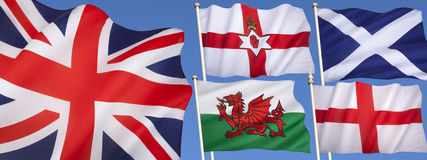 Flags of the United Kingdom of Great Britain. England, Scotland, Wales, Northern Ireland and the Union Flag Royalty Free Stock Photos