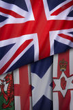 Flags of the United Kingdom of Great Britain. The Union Flag and flags of England, Scotland, Wales and Northern Ireland Royalty Free Stock Photos