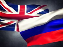 Flags United Kingdom of and Russia. Over dark sky Royalty Free Illustration