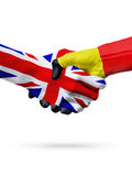 Flags United Kingdomm Belgium countries, partnership friendship handshake concept. Stock Images