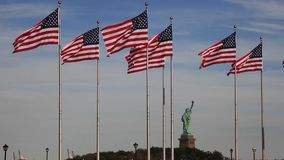 Flags of United States of America stock video footage