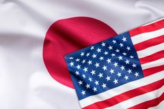 Flags of United states of america and japan flag together.  royalty free stock images