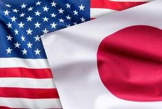 Flags of United states of america and japan flag together royalty free stock photos