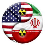 Flags of United States and Iran with Nuclear icon Stock Photos