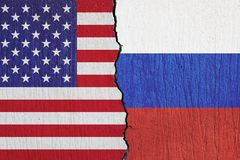 Flags United States and Russian painted on the wall royalty free stock photos