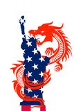 Flags of USA and China royalty free illustration