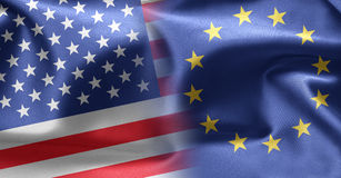 Flags of USA and Europe Royalty Free Stock Photos